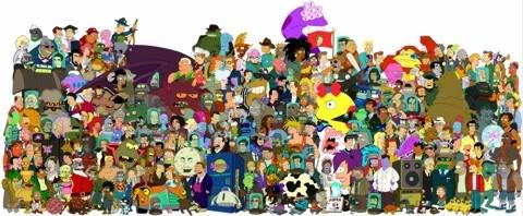 imagem todos personagens Futurama